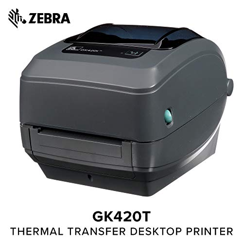 Zebra - GK420t Thermal Transfer Desktop Printer for Labels, Receipts, Barcodes, Tags, and Wrist Bands - Print Width of 4 in - USB, Serial, and Parallel Connectivity