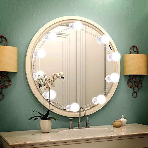 Sylvwin Luci da Specchio per Trucco,Luci da Specchio Stile Hollywood con 3 Modalità Colore e 10 Lampadine a LED Dimmerabili per Specchio Cosmetico o Luce per il Truccoc