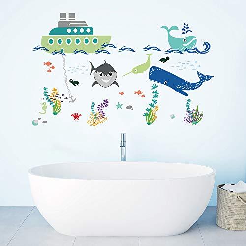 decalmile Bajo el Mar Pegatinas de Pared Barco Tiburón Peces Adhesivos Decorativos para Habitación Infantiles Guardería...