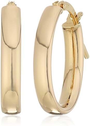 14k Yellow Gold 14Mmx18mm Flat Oval Click Top Hoop Earrings