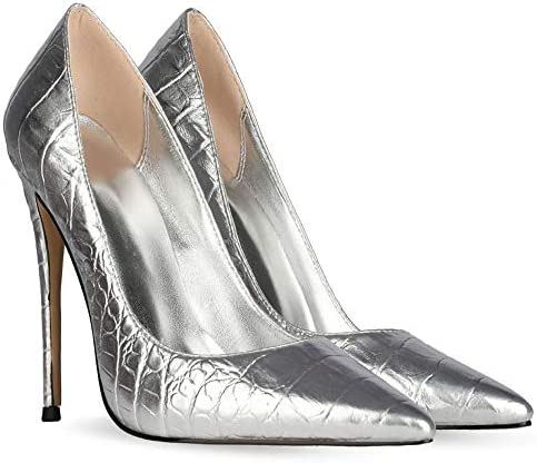 Gracemee Dames Mode Pumps Stiletto Hakken Formal Schoenen Slip on Puntige Teen Partij Dress Schoenen Animal Print Metalen Snake Silver-10CM Size 44