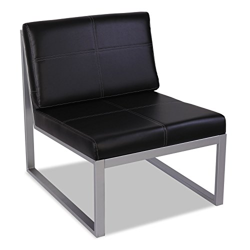 Alera RL8319CS Reception Lounge Series Armless Cube Chair, 26-3/8 x 31-1/8 x 30, Black/Silver