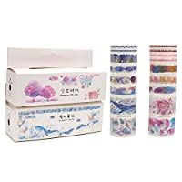 Molshine 16rolls(Length 6.6ft/Roll) Washi Masking Tape Set,Adhesive Paper,Crafts Tape for DIY,Planners,Scrapbook,Object Decorative,Collection,Gift Wrapping (Blue)