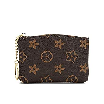 LLGGVE Checkered Zipper Coin Purse PU Vegan Leather waller Mini Key Ring Wallet Card Case (Brown Flower)