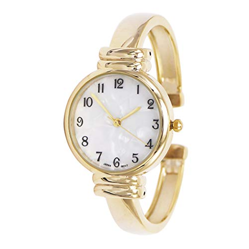 Rosemarie Collections Women's Mother of Pearl Metal Cuff Watch (Gold) ()