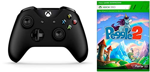 Official Microsoft Xbox One S Wireless Controller (New, Bulk Packaging) + Peggle 2 Download Card