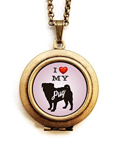 Dearest Mine Women's Brass Plated Dog Breed Silhouette Pink Petite Art Locket Necklace 18 inches (PUG) (Doberman German Shepherd)