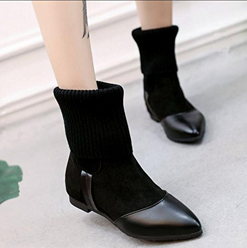 KHSKX-Socks Boots Female Autumn And Winter New Plush Black Warm The Air Martin Boots Retro Pointed Flat Boots 38