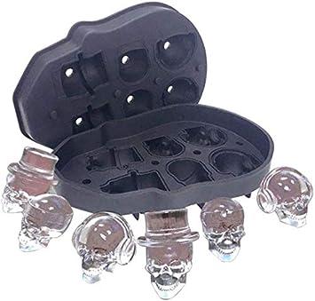 Muerte 3D Cabeza Barquilla de silicona del molde del cubo de hielo, alimentos de silicona sin BPA, Ideal para whisky Cóctel Vodka y su bebida favorita (1pcs)