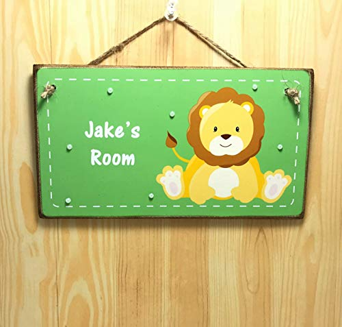 Burkewrusk Personalised Lion Room Sign Kids Name Plaque Bedroom Door Plaque Safari Animal Name Plaque Lion Personalised Door Sign Lion Gift