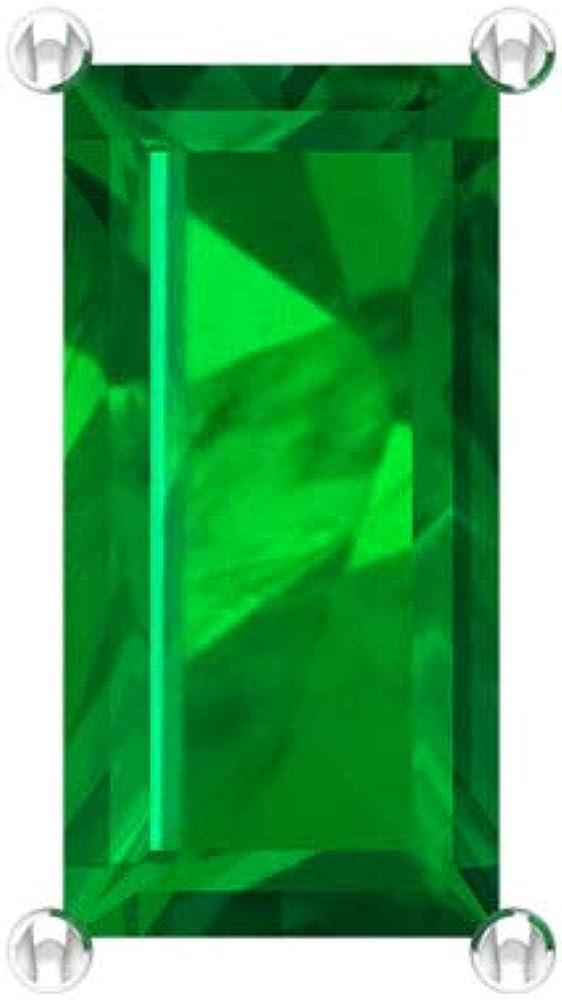 Pendientes de piedra verde con certificado SGL de 3,36 quilates, con forma de baguette, sólido oro de 14 quilates, pendientes vintage personalizados, tornillo hacia atrás
