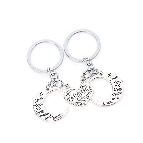 I Love You To The Moon And Back Necklaces Set Mother Daughter 2 Half Broken Hearts Necklace Keychain Set (Cloud Keychain) - Key Chain Set