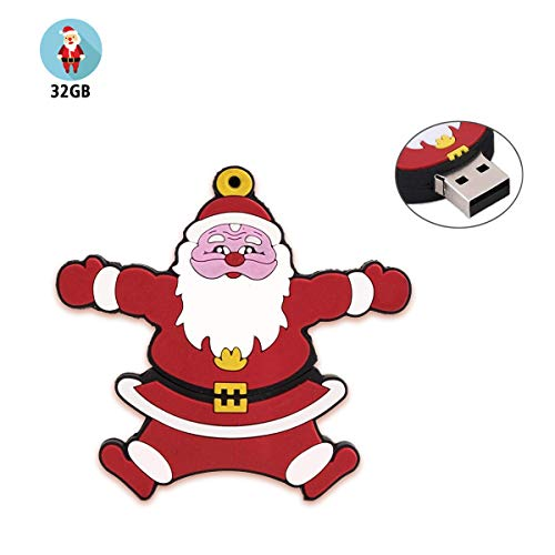 Santa Usb Flash Drive - Flash Drive 32GB, Gig Stick PenDrive 32GB USB2.0 JBOS Cute Cartoon Merry Christmas Santa Claus USB Memory Stick Thumb Drives for Date Storage Gift for Students Kids Children Staff Friends