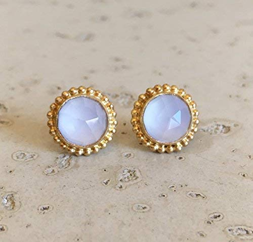 White Moonstone Stud Gold Earring