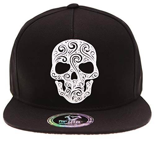 Patch Flat Cap - RufnTop Skull Bone Patch Flat Bill Baseball Punk Hat Snapback Cap(Skull Evil Devil Black)