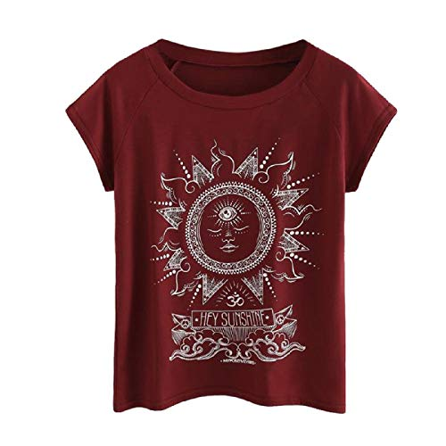 Wintialy Womens Plus Size Letter Printed O-Neck Short Sleeve Blouse T-Shirt Tops Wine