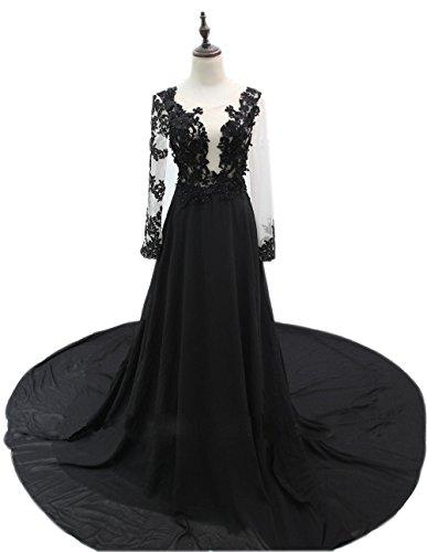 ALfany Exquisite Black Women's Long Sleeve Court Train Formal Prom Evening Dresses (8, Black)