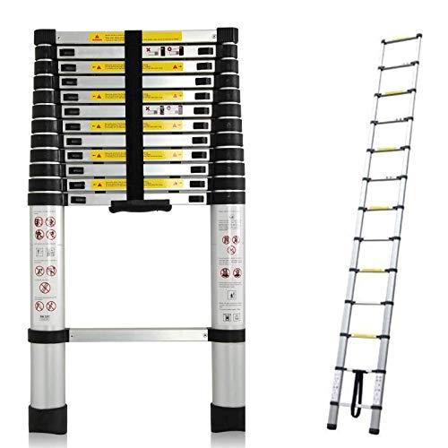 Escalera telescópica de aluminio (plegable y extensible hasta 3,8m, con capacidad de 150kg y 13 peldaños extraíbles)