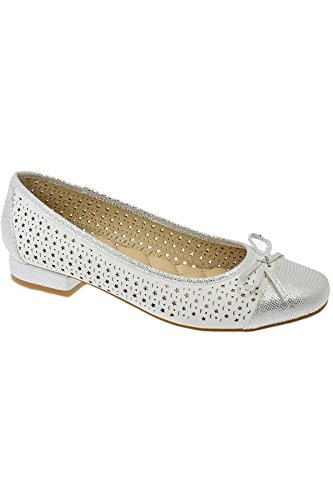Ladies Bow FANTASIA Shoes Star JLY039 Perforated BOUTIQUE Accent ® Metallic White Low Shiny Hendrix Heel wqxzrIqR