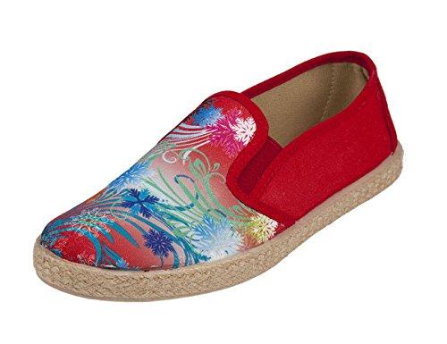 Tanahlot - Zapatillas de estar por casa de Lona para mujer Rojo