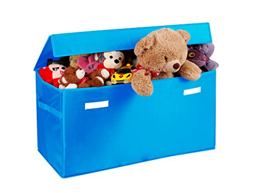 Prorighty Collapsible Toy Chest for Kids (XX-Large) Storage Basket w/Flip-Top Lid | Toys Organizer Bin for Bedrooms, Closets, Child Nursery | Store Stuffed Animals, Games, Clothes (Light-Blue)
