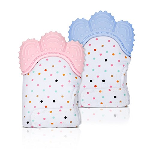 Accmor Baby Teething Mittens for Babies, 2 Pack Soft Food-Grade Silicone Teething Glove Teething Mitt for Self-Soothing Pain Relief, BPA-Free, Unisex Teething Toys for 3-12 months Baby (Pink & Blue)