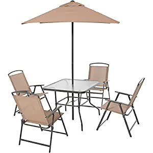 6-Piece Tan Powder-Coated Steel Frame Water Wave Tempered Glass Top Folding Dining Set