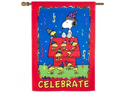 "CELEBRATE House Flag Peanuts Snoopy Charlie Brown 28"" x 40"""