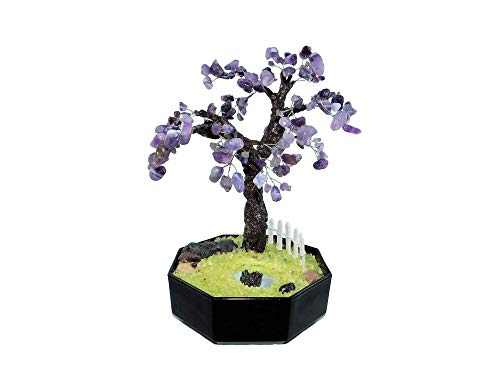 - 24cm Amethyst Lilac Tree Bonsai with Fence and Pond in Ceramic Pot. Handmade Feng Shui Gemstone Tree. Purple Artificial Bonsai Office Decor