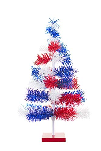 4th of July Christmas Trees 2FT Classic Tinsel Feather Style Tree Red, White, Blue 24'' Tabletop Height Vintage Retro American Patriotic Centerpiece Display Tree Indoor Outdoor w/Wood Base Stand -