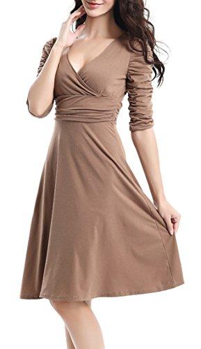Casual V Mujer Café 3 Vestido Manga Cóctel 4 Retro Dress Fiesta Cuello Elegante DELEY TzqgwSx