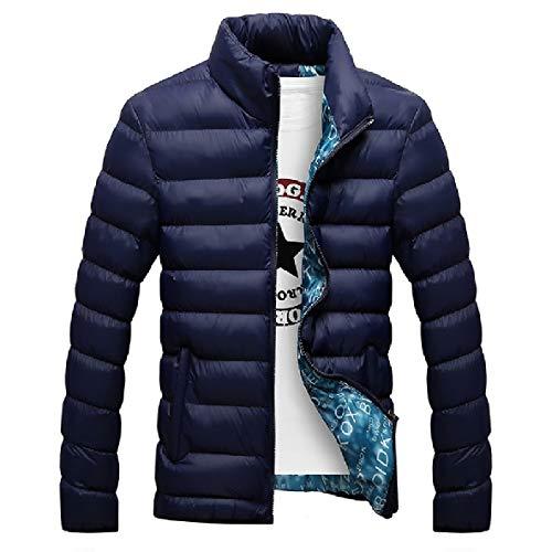 Outwear Spesso Stand Blu Collare Scuro Con Dotati Inverno Di Mens Piumini Zip Xinheo twqAx8WBS