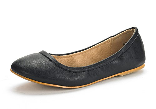 DREAM PAIRS Women's Sole-Fina Black Solid Plain Ballet Flats Shoes - 7.5 M US
