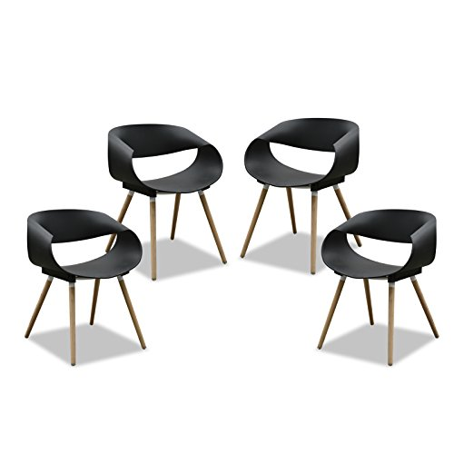 Purenity New Aesthetic Style Streamline Design Modern Dining Arm Side Chairs Set of 4 (Black)