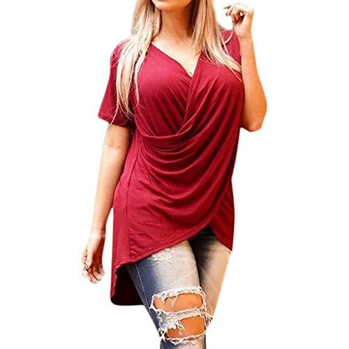 (AgrinTol Summer Womens Short Sleeve Tops V-Neck Chiffon T-Shirt Casual Tops)