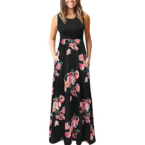 Sunhusing Women's Solid Color Round Neck Sleeveless Bohemian Ethnic Print Pocket Long Maxi Floor-Length Dress ()