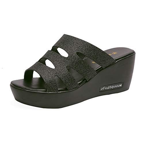 Fastbot Women's Summer Sandals Open Toe Casual Comfort LadyRome Retro Peep Toe Wedges Bohemia Slippers Beach Shoes Black