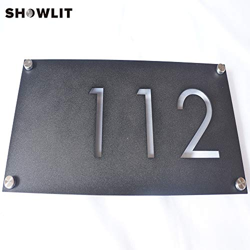 [해외]Showlit Custom Statinless Steel Buliding Signs Apartment Numbers Plate Black Painted Modern Buildings Plaques / Showlit Custom Statinless Steel Buliding Signs Apartment Numbers Plate Black Painted Modern Buildings Plaques