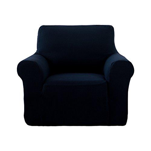 Deconovo Jacquard Stretch Solid Color Small Checked Sofa Cover Spandex Polyester Sofa Slipcover for Sofa Chair Navy ()