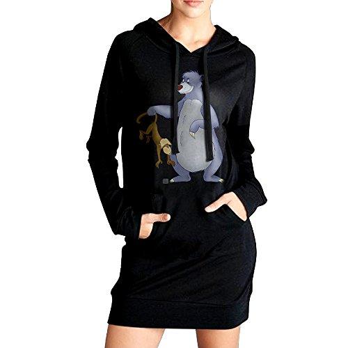 [JHH Women's The Jungle Book Bear Baloo Sweater Pockets Hoodie Dress Black Size M] (The Jungle Book Baloo Costume)