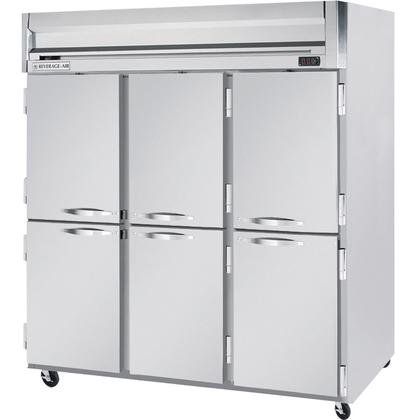 Beverage-Air HR3-1HS 78'' Horizon Series Three Section Solid Half Door Reach-In Refrigerator 74 cu.ft. capacity Stainless Steel Front Gray Painted Sides Aluminum