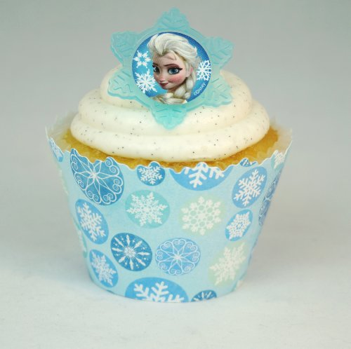 Disney's Frozen cupcake rings/Toppers and Snowflake cupcake wrappers combo (Disney Frozen Cupcake Liners compare prices)