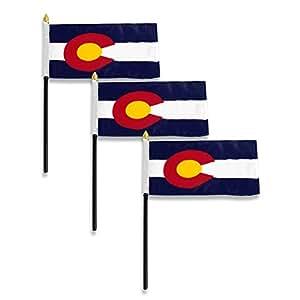 The Online Stores Bandera de Colorado 4x 6pulgadas, 3 Pack