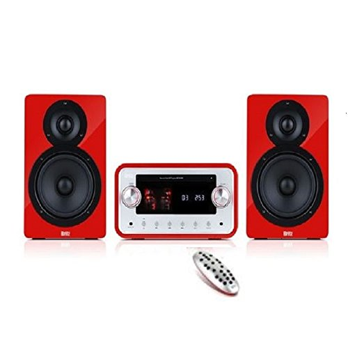 Britz BZ-TM780 Premium Vacuum Audio Wireless Bluetooth Speaker, Hi-Fi Smart Audio System, CD, CD-R/RW, MP3, USB, VFD Display with Timer, Sleep, Clock, FM Radio (Red Line Dual Timer Watch)