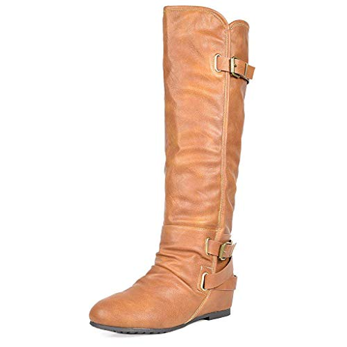 DREAM PAIRS Women's New-Akris Camel Pu Knee High Hidden Wedge Winter Riding Boots Wide Calf Size 5 B(M) US