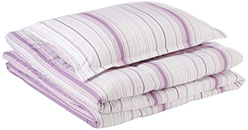 (AmazonBasics Comforter Set - Soft, Easy-Wash Microfiber - Twin/Twin XL, Purple Verticle Stripes)