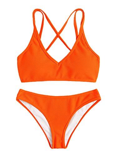 SweatyRocks Women's Bathing Suits Spaghetti Strap Criss Cross Back Bikini Ribbed Swimsuit Orange Medium