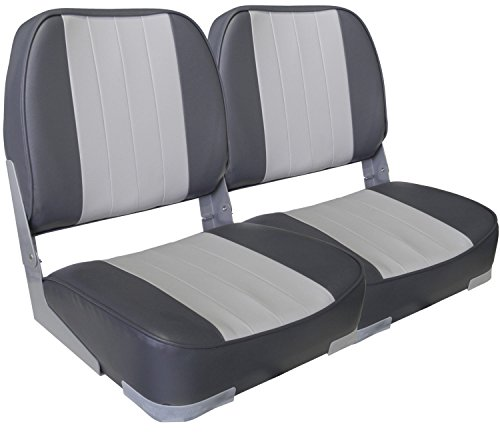(Leader Accessories A Pair of New Low Back Folding Boat Seats(2 Seats) (Gray/Charcoal))