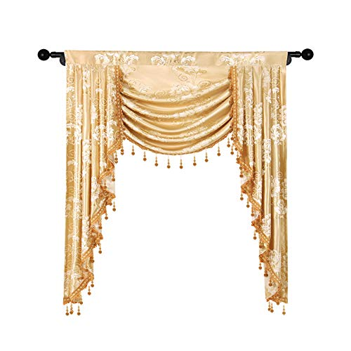 elkca Jacquard Single Swag Waterfall Valance for Living Room Floral Curtain Valance for Bedroom (Floral-Golden, W39 Inch, 1 Panel)