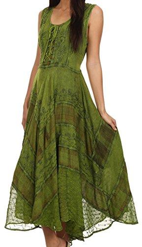 Brodée Sakkas Corsage Azalea Robe Rayonne Style Vert Délavée 7awfS7q